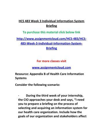 Information systems briefing