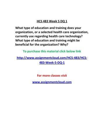UOP HCS 483 Week 5 DQ 1