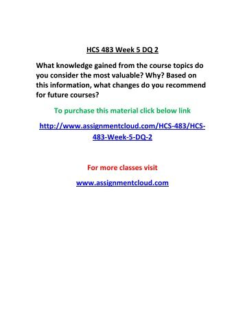 UOP HCS 483 Week 5 DQ 2