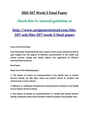 ASH HHS 307 Week 5 Final Paper