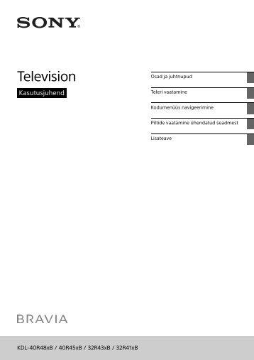 Sony KDL-32R435B - KDL-32R435B Istruzioni per l'uso Estone