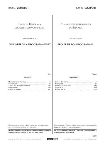 2208/001 2208/001 Belgische Kamer Chambre Belgique