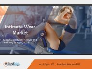 Intimate Wear Market Growth, Trends and Forecast 2014 - 2022