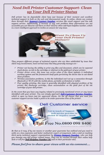 Need Dell Printer Customer Support