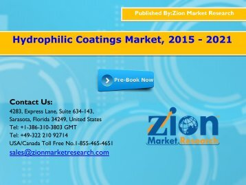 Hydrophilic Coatings Market, 2015 - 2021