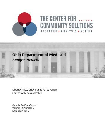 Ohio Department of Medicaid Budget Preview