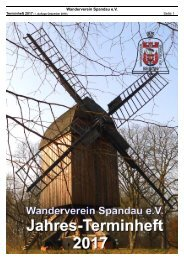 Jahres-Terminheft 2017 - Wanderverein Spandau
