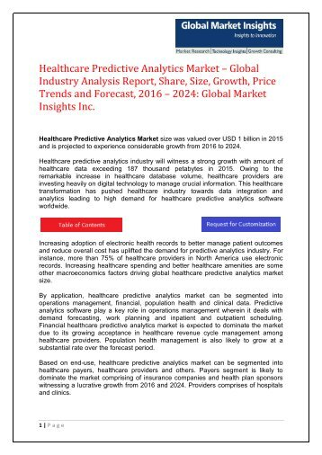 PDF - Healthcare Predictive Analytics Market