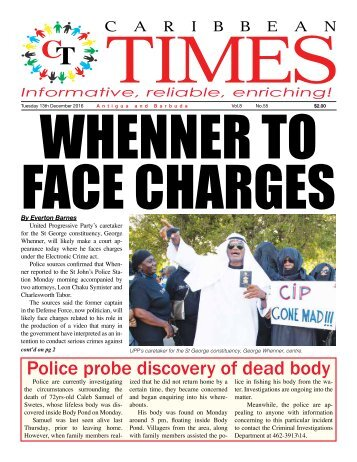 Caribbean Times 55th Issue - Tuesday 13th December 2016