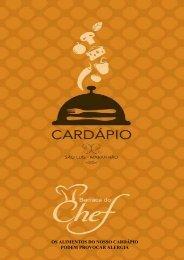 Cardápio Barraca do Chef