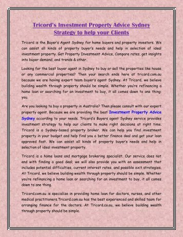 Tricord's Investment Property Advice Sydney Strategy to help your Clients