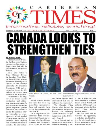 Caribbean Times 56th Issue - Wednesday 14th December 2016