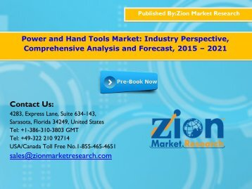 Power and Hand Tools Market, 2015 - 2021