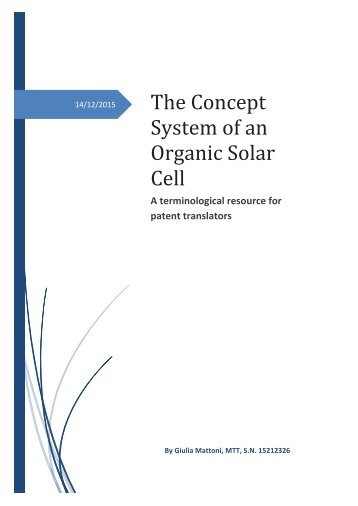 The Concept System of an Organic Solar Cell