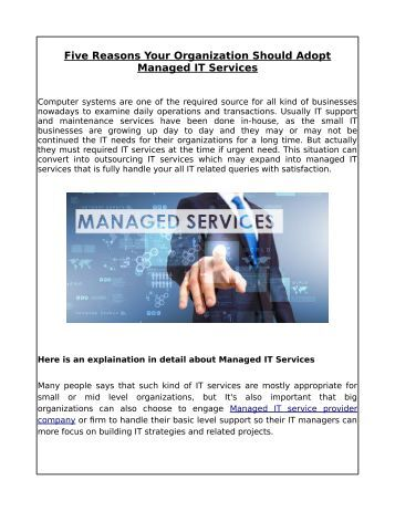Five Reasons Your Organization Should Adopt Managed IT Services