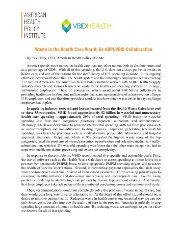 Waste in the Health Care World An AHPI/VBID Collaboration