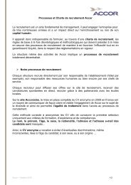 Processus et Charte de recrutement Accor Le recrutement est un ...