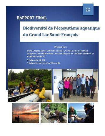 Biodiversité de l'écosystème aquatique du Grand Lac Saint-François