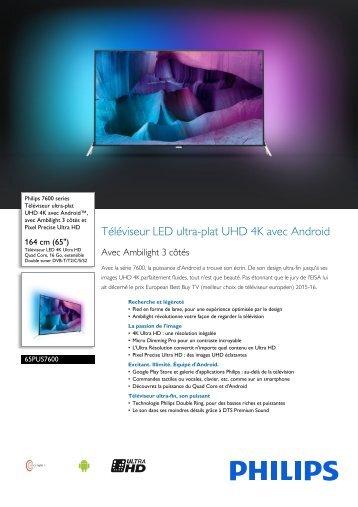 Philips 7600 series Téléviseur UHD 4K ultra-plat avec Android™ - Fiche Produit - FRA