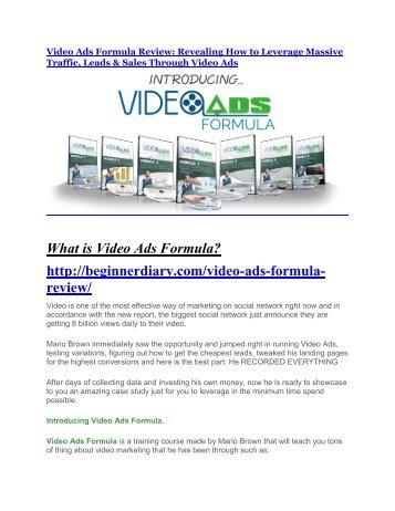Video Ads Formula Review and GIANT $12700 Bonus-80% Discount