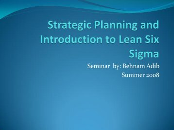 Strategic Planning and Introduction To LSS