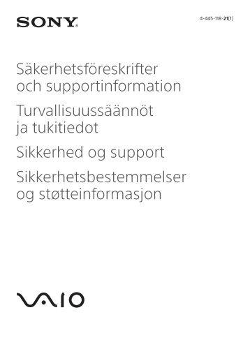 Sony SVT1112S1E - SVT1112S1E Documenti garanzia Finlandese