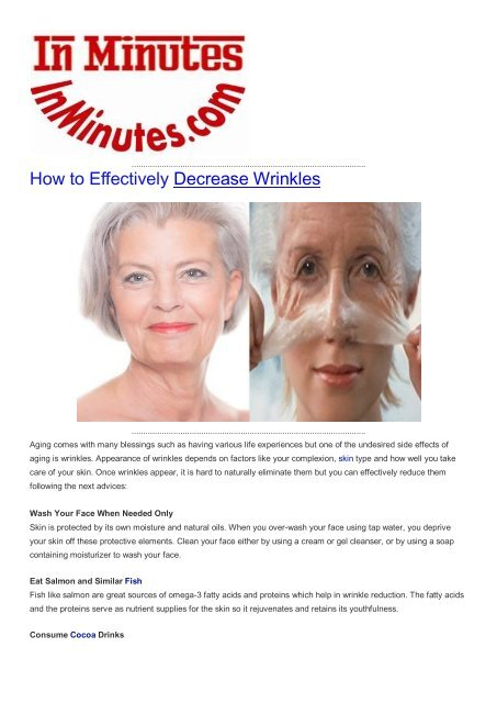 How to Effectively Decrease Wrinkles