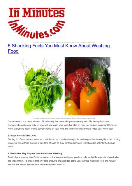 5 Shocking Facts You Must Know About Washing Food