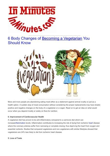 6 Body Changes of Becoming a Vegetarian You Should Know