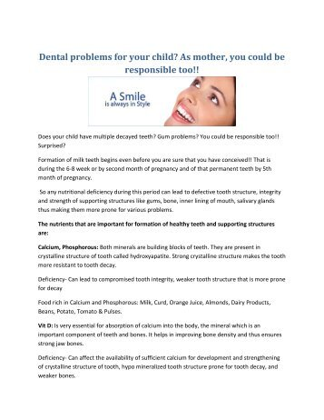 Dentists In Delhi - Dental problems for your child
