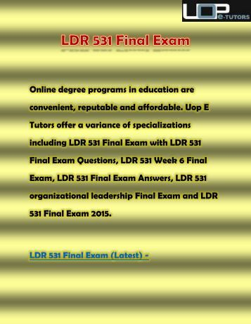 answers to final exam questions ldr 531 {post} individual assignmennt , discussion questions, entire course, final exam answers, study guide, online course.