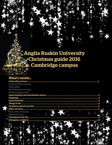 Anglia Ruskin University Christmas guide 2016 Cambridge campus