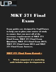 MKT 571 Final Exam University of Phoenix 2016 - Answers - week 5 @ Uop E Tutors
