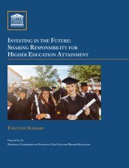INVESTING FUTURE SHARING RESPONSIBILITY HIGHER EDUCATION ATTAINMENT
