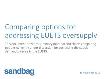 Comparing options for addressing EUETS oversupply