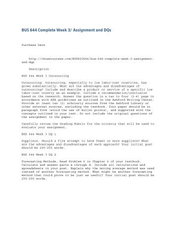 BUS 644 Complete Week 3- Assignment and DQs