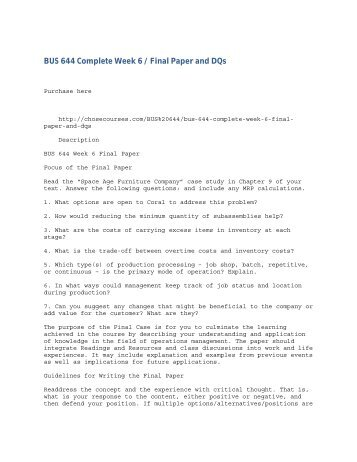 BUS 644 Complete Week 6 - Final Paper and DQs