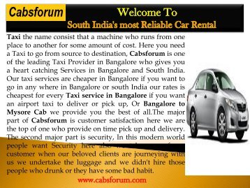 Outstation Cabs in Bangalore