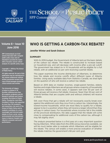 WHO IS GETTING A CARBON-TAX REBATE?