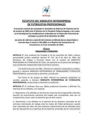 ESTATUTO DEL SINDICATO INTEREMPRESA DE FUTBOLISTAS PROFESIONALES