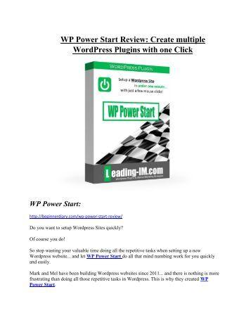 WP Power Start Reviews and Bonuses-- WP Power Start
