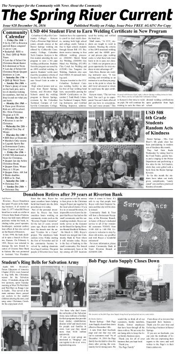 The Spring River Current: Issue #28, December 16, 2016