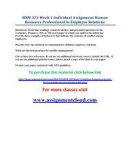 UOP HRM 323 Week 1 Individual Assignment Human Resource Professional in Employee Relations