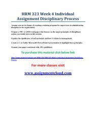 UOP HRM 323 Week 4 Individual Assignment Disciplinary Process