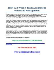 UOP HRM 323 Week 4 Team Assignment Union and Management