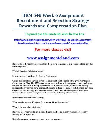 assignment 1 recruitment and selection Subject guide for human resource management human resource management: buss 5351: recruitment and selection - assignment 1 - sp1 2017.