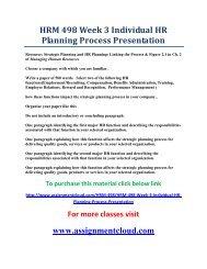 UOP HRM 498 Week 3 Individual HR Planning Process Presentation