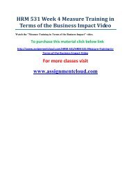 UOP HRM 531 Week 4 Measure Training in Terms of the Business Impact Video