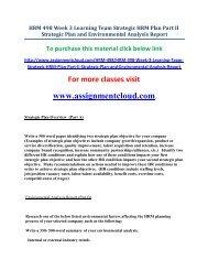 UOP HRM 498 Week 3 Learning Team Strategic HRM Plan Part II