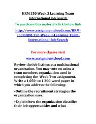 UOP HRM 350 Week 3 Learning Team International Job Search